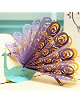 3D Pop Up Peacock Greeting Card Birthday Wedding Party Invitation Card.