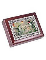 Hummingbirds Rosewood Finish with Silver Inlay Jewelry Music Box - Plays Tune Wonderful World