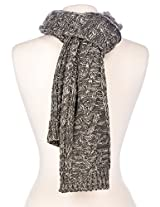 Noble Mount Mens Two-Tone Cable Knit Chillbuster Winter Scarf - Grey/White