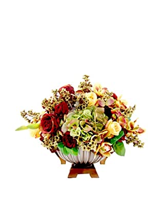 Creative Displays Burgundy & Gold Hydrangea & Rose Floral in Urn