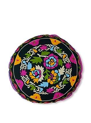 Modelli Creations Hand Embroidered Crewel Work Floor Pillow (Black/Multi)
