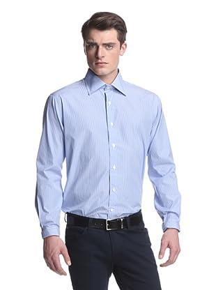 Oxxford Men's Spread Collar Dress Shirt (Blue/White Stripe)