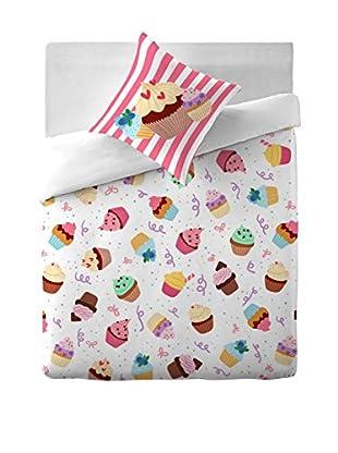 COSTURA Bettdecke und Kissenbezug Cupcake Party