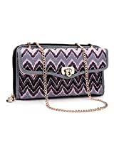 Kroo Clutch Wristlet Wallet with Holder for 5.75-Inch Smartphone with Crossbody Chain - Non-Retail Packaging - Purple