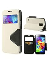 ROAR KOREA White Leather Diary View Flip Cover for Samsung Galaxy S4 Mini i9190