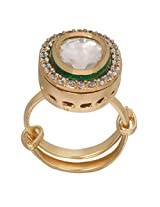 Affinity Jewellers High Quality elegant Kundan Polki Gold Green ring Gold Plated