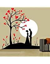 Decor Kafe Couple Under Tree Wall Decal Large Size - 32*35 Inch Color - Red, Black, White