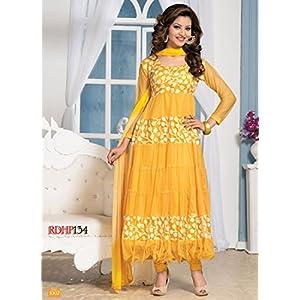 Clickedia Women Brasso & Net Salwar Suit Set (Sajda _Yellow _Free Size)