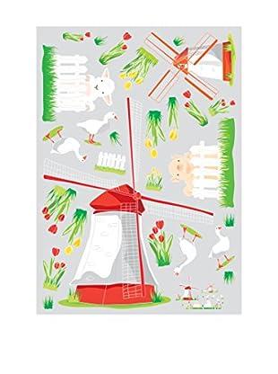 Ambiance Live Wandtattoo Windmill and farm animals mehrfarbig