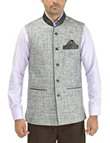 Panache. Men's Round Collar Nehru Coat (P0 93_Black_46, Black, 46)