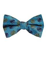 PBT-11018 - Aqua - Gray - Gold - Black - Mens Silk Pre Tied Bow Tie