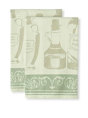 Garnier-Thiebaut Set of 2 Huile d'Olive Vert Kitchen Towels