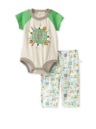 Da Lil Guys Baby Short Sleeve Bodysuit & Pant Set (Green)
