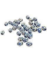 Buy 1 Get 1 Free- Foppish Mart Blue Metallic Gold Engraved Bead