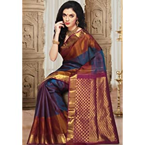 Magenta and Blue Pure Handloom Kanchipuram Silk Saree with Blouse