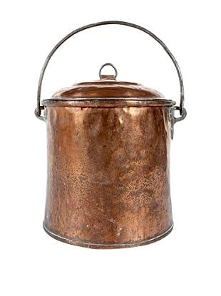 Belgium Copper Pot with Lid, Metallic
