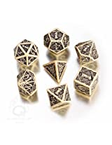 Q-Workshop Polyhedral 7-Die Set: Celtic 3D BEIGE & Black Dice Set!