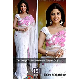 Shilpa Shetty Net White Multi Embroidered Bollywood Style Saree