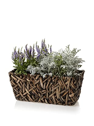 Wald Imports Small Rectangular Random Weave Seagrass Planter (Espresso)