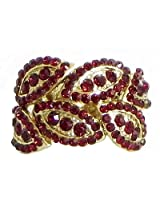 DollsofIndia Faux Garnet Adjustable Ring - Stone and Metal - Red