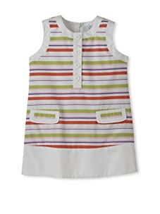 Baby CZ Girl's Chanel Sleeveless Dress (Pink/Lime Stripe)