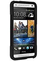 Amzer 96185 Double Layer Hybrid Case with Kickstand - Black/ Black for HTC One Mini M4
