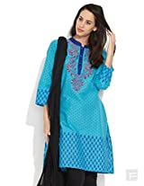 Stunning Embroidered Yoke Printed Kurta -Aqua-M