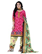 Divisha Fashion Pink and Yellow Cotton Printed Churiddar Suit with Dupatta