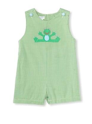 Bebe Mignon Baby Check Shortall with Frog Appliqué (Green)