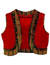 The Sewing Machine Red Multi Cotton Jacket