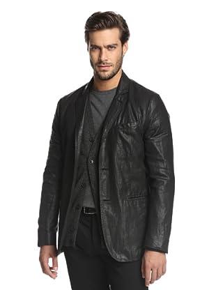 John Varvatos Collection Men's Coated Linen Jacket (Black)