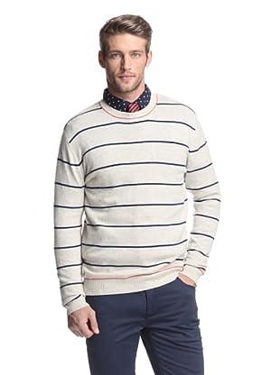 Kokun Men's Tipped Stripe Crewneck Sweater (Fog Combo)