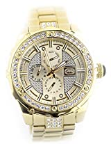 Marc Ecko Marc Ecko Mens The Sillo Multifunction Gmt Crystal Accented All Gold Tone Bracelet Watch E19015G1 - E19015G1