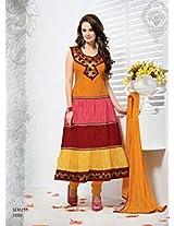 Rozdeal New Arrival Evelyn Sharma Orange Cotton Anarkali Suit