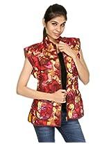Rajrang Womens Cotton Jacket -Maroon, Yellow -X-Large
