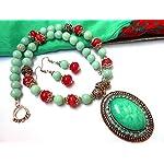 greenish cyan and frui pink semiprecious necklace set