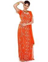Exotic India Orange Bridal Lehenga Choli with Beadwork and Sequins - Orange
