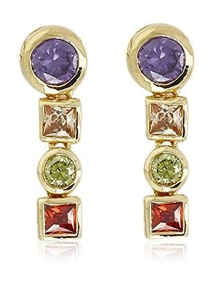 Shiny Cristal Pendientes  metal bañado en oro 24 ct / Verde / Rojo