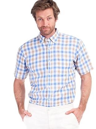 Cortefiel Camisa Sport Cuadros (Azul Claro / Beige)