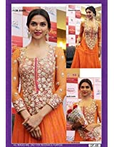 Semi stitched salwar suits - Deepika Padukone orange designer embroidered semi stitched anarkali suit