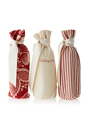 French Laundry Set of 3 Wine Bags, Red