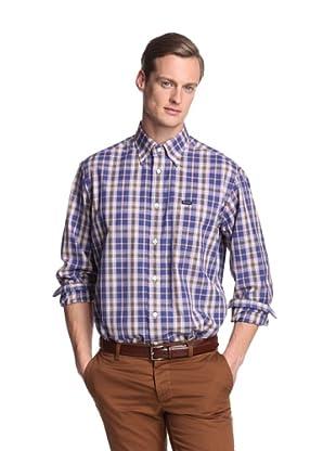 Façonnable Men's Classic Plaid Shirt (Blue)