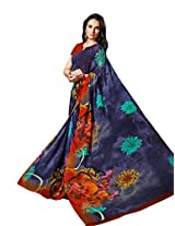 BLue Color Georgette Printed Saree with Blouse 7017