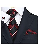 LANDISUN 61E CHECKED RED BLACK SET:TIE+HANKY+CUFFLINKS