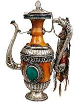 Exotic India Amber Dust Ritual Kettle with Dragon Handle - Silver with Amber Dust
