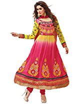 Clickedia Women Faux Gorgette Semi-Stitched Anarkali Suit (EL22012-Yellow)