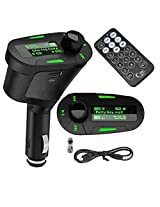 Alria Car MP3 Player FM Transmitter Modulator-LCD, USB, SD, MMC with Remote (Green Colour Display)