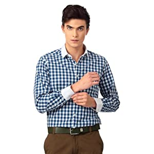 Peter England Business Casual Checked Shirt