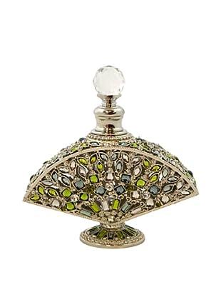 Hand-Set Crystal Bejeweled Fan Perfume Bottle (Green)