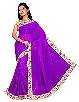 ISHIN Chiffon Purple Solid Lace Saree With Printed Blouse